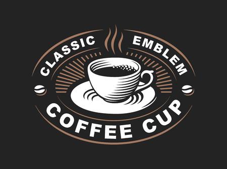 Koffie kopje logo - vector illustratie, embleem ontwerp op zwarte achtergrond Stock Illustratie