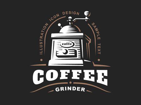 grinder: Coffee grinder logo - vector illustration, emblem design on black background