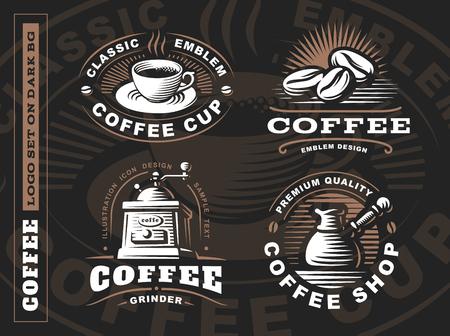 コーヒーのロゴ - ベクトル図、エンブレムが黒の背景にデザインを設定