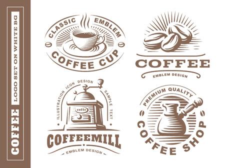Coffee logo - vector illustration, emblem set design on white background