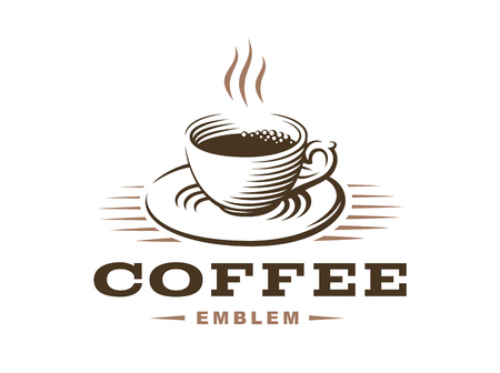 Coffee cup logo - vector illustration, emblem design on white background