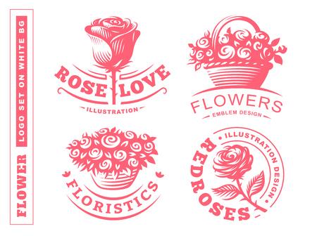 花ロゴ - ベクトル図では、白い背景の上のエンブレム デザインを設定します。 写真素材 - 72958765