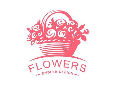 Rose basket logo - vector illustration, emblem design on white background  イラスト・ベクター素材