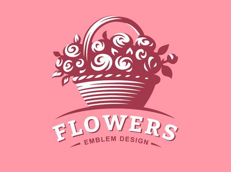 Rose basket logo - vector illustration, emblem design on pink background