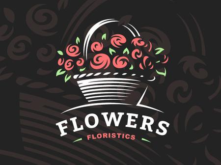Rose basket logo - vector illustration, emblem design on dark background