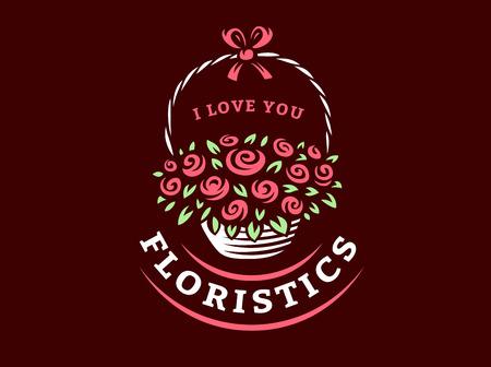Flowers basket logo - vector illustration, emblem design on dark background