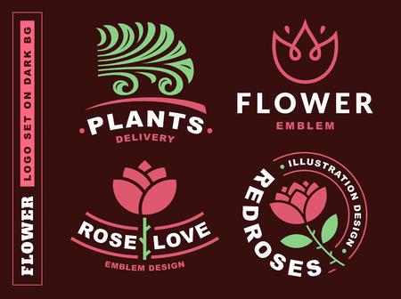 Set flowers logo - vector illustration, emblem design on dark red background  イラスト・ベクター素材
