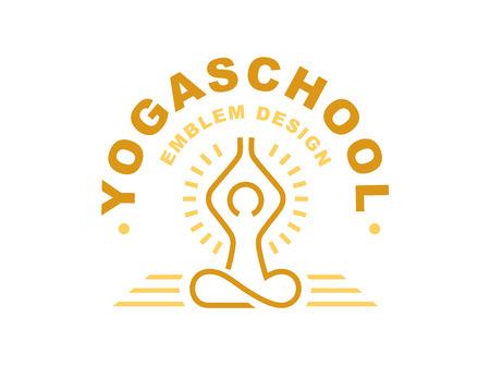 Outline yoga logo - vector illustration, emblem design on light background  イラスト・ベクター素材