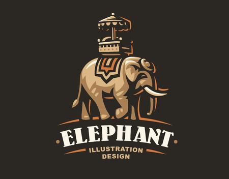 Indian elephant logo illustration, emblem design on dark background