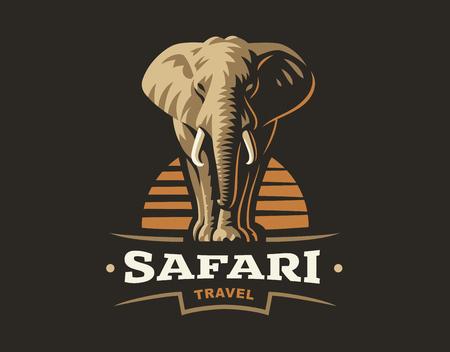 African safari elephant logo illustration, emblem design on dark background Vettoriali