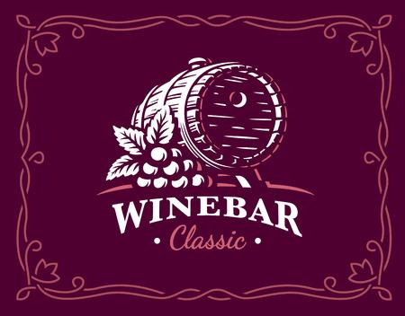 Wine barrel logo illustration, emblem design on maroon color background