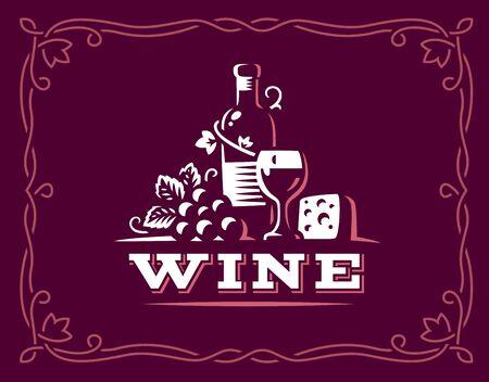 Bottle of wine and grapes logo illustration, emblem design on maroon color background