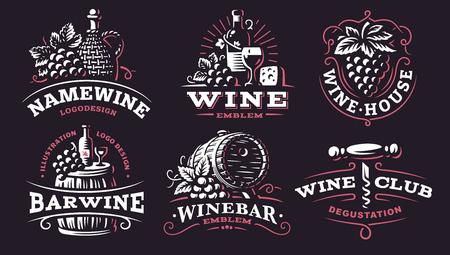 Wine set logo illustrations, emblems design on dark background