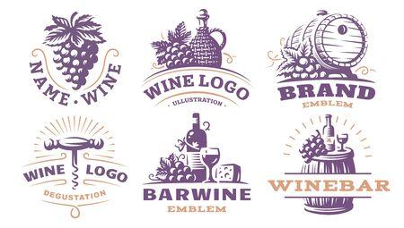 Wine set logo illustrations, emblems design