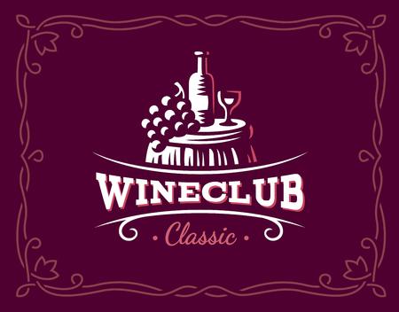 Wine and grapes logo illustration, emblem design