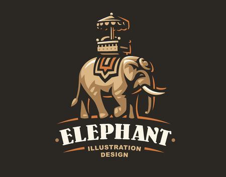 Indian elephant logo - vector illustration, emblem design on dark background  イラスト・ベクター素材