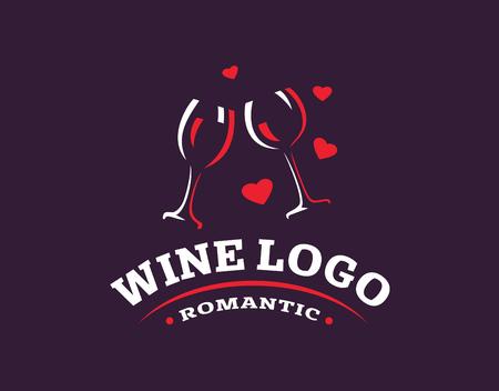 Wineglass logo - vector illustration, emblem design on dark background  イラスト・ベクター素材