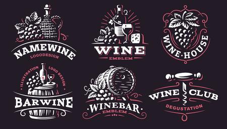 Wine set logo - vector illustrations, emblems design on dark background.  イラスト・ベクター素材