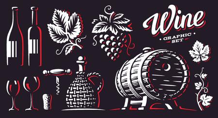 Wine, set vector illustrations, design on dark background.  イラスト・ベクター素材