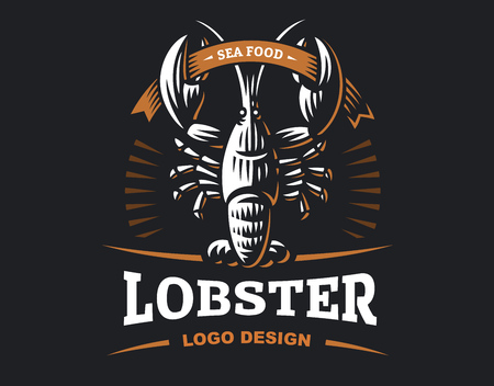 Lobster vector logo illustration. Crustacean in a vintage style on white and dark background. Ilustração