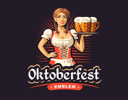 Pretty girl with beer, Oktoberfest logo design on dark background  イラスト・ベクター素材