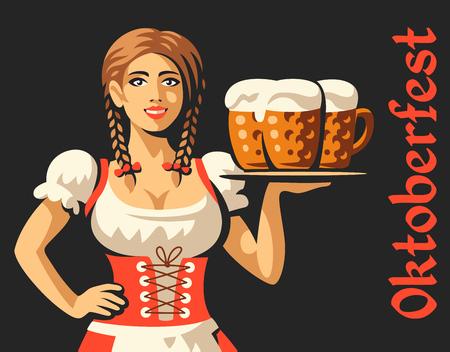 Pretty girl with beer, Oktoberfest illustration on dark background