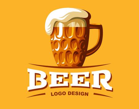 Craft beer logo- vector illustration, emblem brewery design on dark background  イラスト・ベクター素材