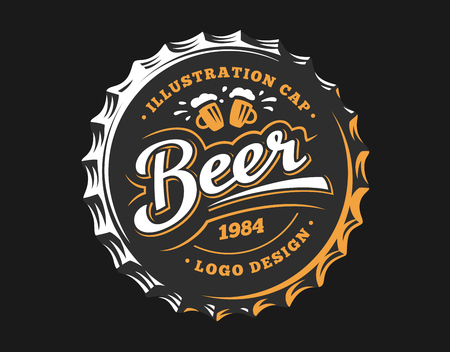 beers: Mug beer logo on cap - vector illustration, emblem brewery design on dark background