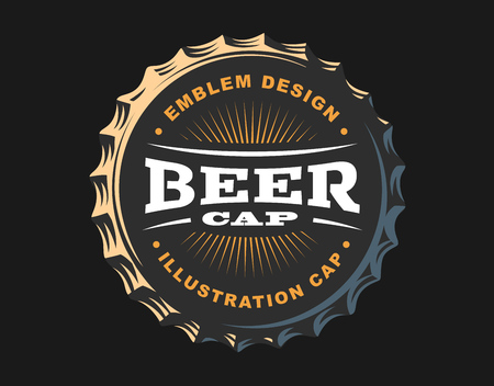 Beer logo on cap - vector illustration, emblem brewery design on dark background