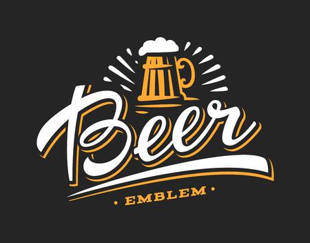 Mug beer logo- vector illustration, emblem brewery design on dark background