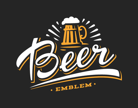 beers: Mug beer logo- vector illustration, emblem brewery design on dark background