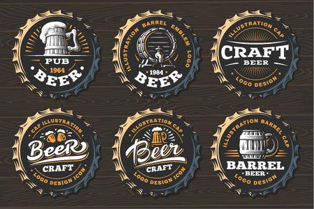 Set beer logo on caps - vector illustration, emblem brewery design on black background  イラスト・ベクター素材