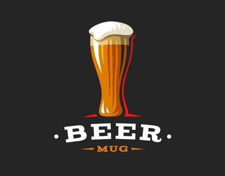 Mok bier logo-vector illustratie, embleem brouwerij ontwerp op donkere achtergrond