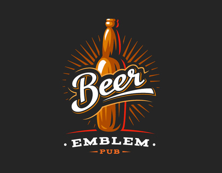Beer bottles logo, emblem design on dark background