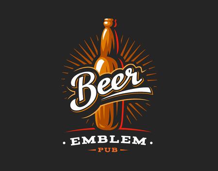 Bierflessen logo, embleem ontwerp op donkere achtergrond Stockfoto