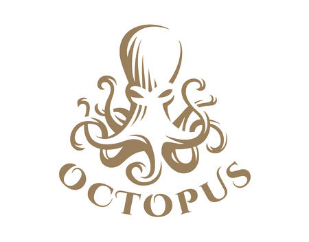 Octopus in emblem design