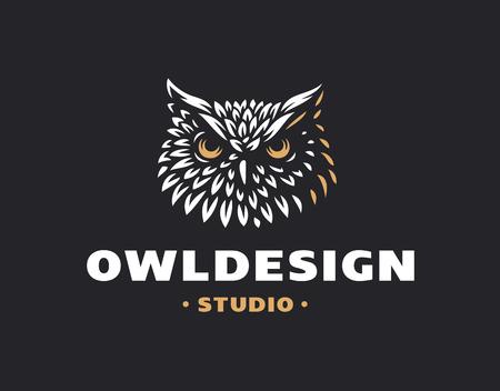 Owl head in emblem design