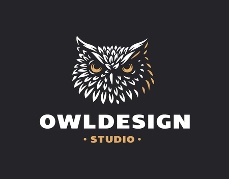 Owl head in emblem design