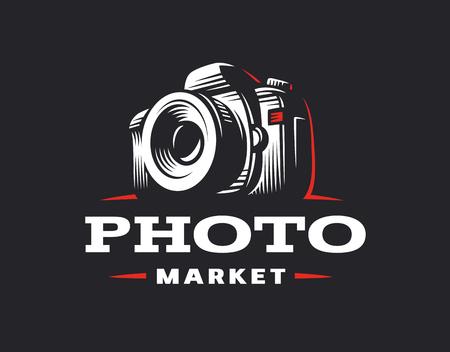 Foto camera logo - vector illustratie. Vintage embleemontwerp Stock Illustratie