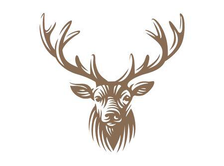 Deer head design isolated on white
