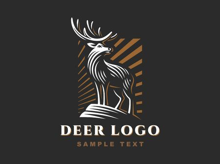 Vintage Emblem design with Deer for Your Business 向量圖像