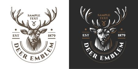 Deer head Design Element in Vintage Style and other design.