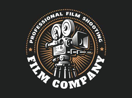 Emblem design film cinema camera on black
