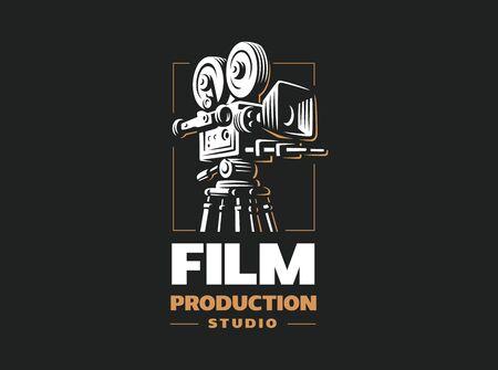 Cinema camera on black 向量圖像