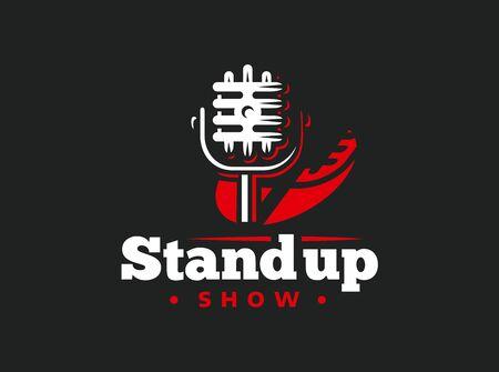 Stand up comedy event emblem design on black