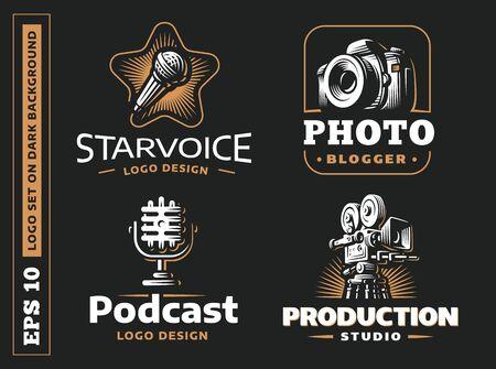 Set photo, video, audio logo vector illustrations