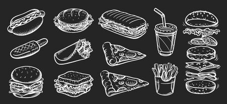 Vector set of fast food. Vector illustration in sketch style. Hand drawing with chalk on chalkboard background.