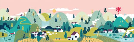 Village. Small town. Rural and urban landscape. Vector illustration. 写真素材 - 146682054
