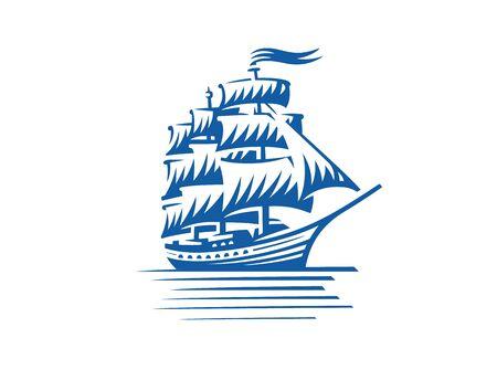 Blue vintage sailing ship. Seafaring, sailer concept. Sketch vector illustration