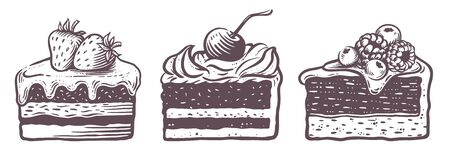 Sweet cakes slices pieces isolated on white background. Set of cakes. Vector illustration